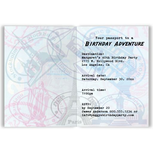 Whimsical Passport Birthday Party Folded Invitation