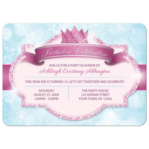 Birthday Party Invitations - Royal Princess Pink Glitter Blue Girls