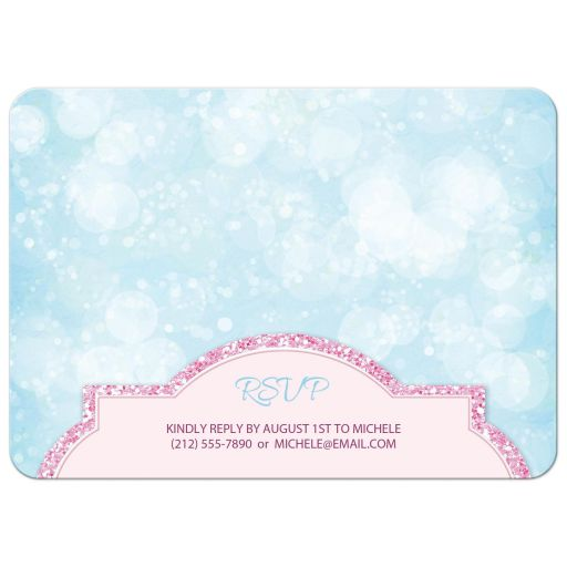 Birthday Party Invitations - Royal Princess Pink Glitter Blue Girls BACK