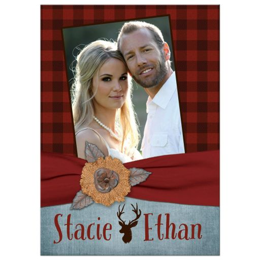 Best rustic hipster wedding invitation with deer and photo template