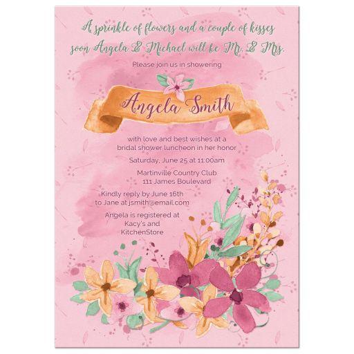 Watercolor floral bridal shower invitation orange pink mint front