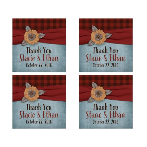 Best rustic red and black plaid wedding favor stickers with denim blue, ribbon and burlap flower