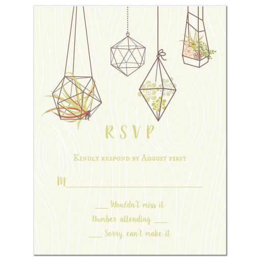 Terrariums, air plants, and succulents geometric nature wedding rsvp card
