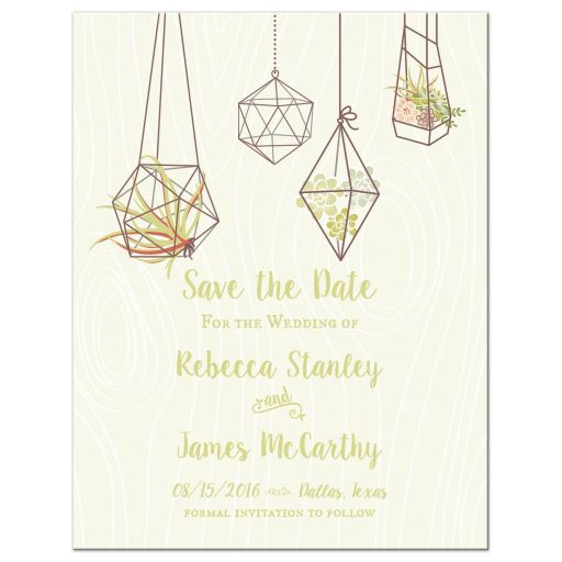 Geometric terrarium air plants and succulents save the date magnets