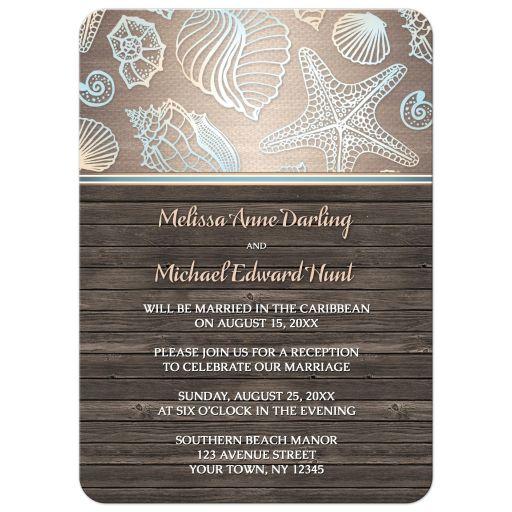 Reception Only Invitations - Rustic Wood Beach Seashell