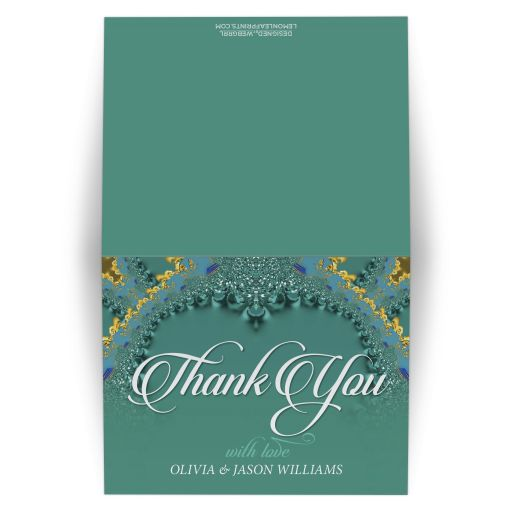 Teal Gold Lace Fractals Thank You Card