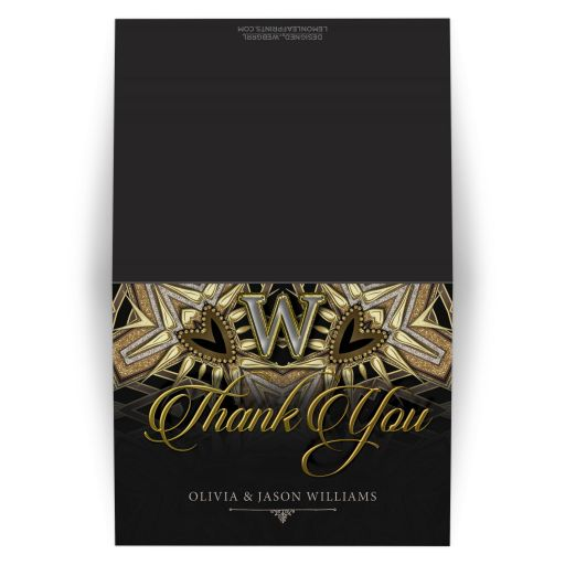 Gold Black Elegant Monogram Thank You Card