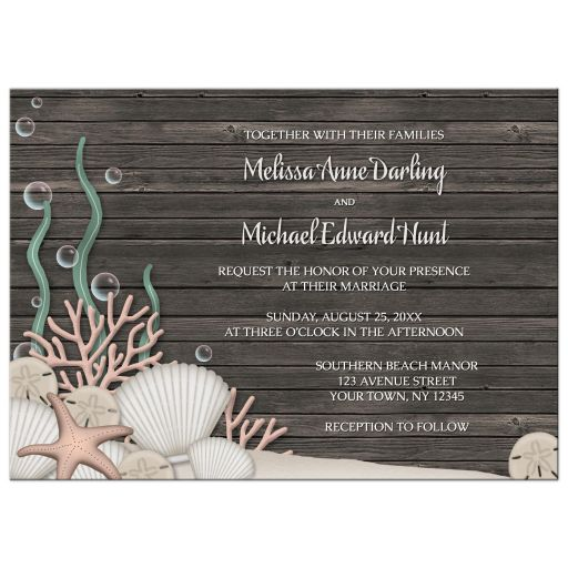 Wedding Invitations - Rustic Beach and Wood