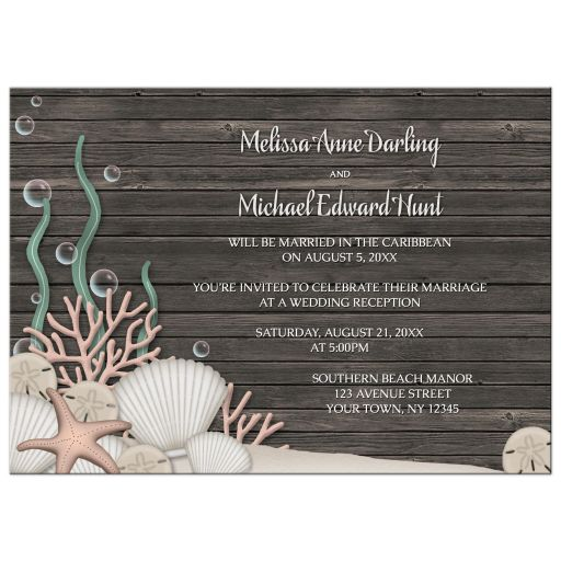 Reception Only Invitations - Rustic Beach and Wood