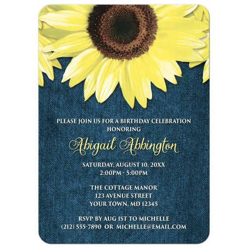 Birthday Invitations - Rustic Sunflower and Denim