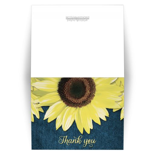 Thank You Cards - Rustic Sunflower and Denim