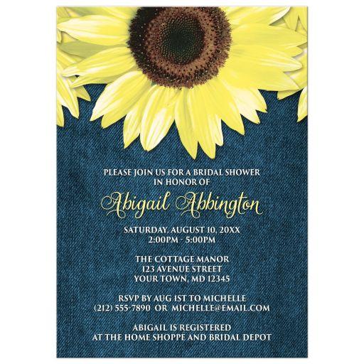 Bridal Shower Invitations - Rustic Sunflower and Denim