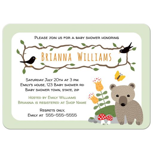 Cute woodland themed baby shower invite with bear cub, blackbirds, mushrooms and mossy rock.