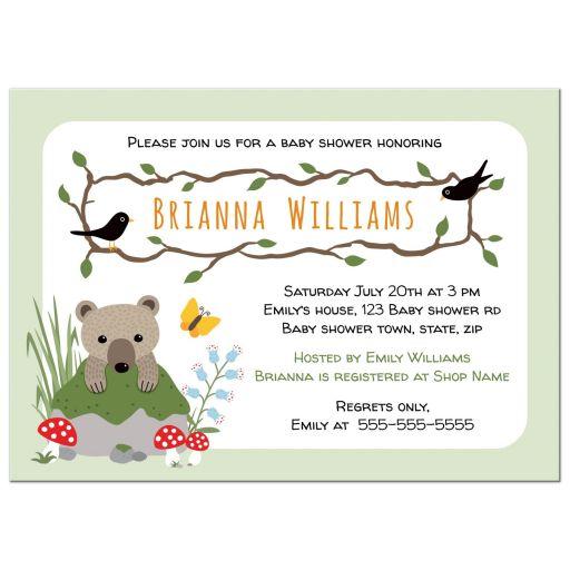 Cute woodland baby shower invitation wit bear cub, mossy rock mushrooms and blackbirds.