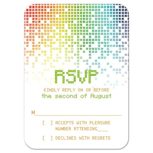 ​Video game inspired raining digital computer pixels Bar Mitzvah RSVP reply card