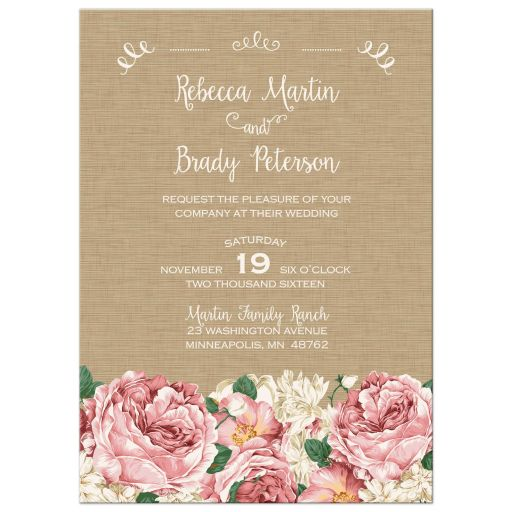 Rustic pink and white peony floral wedding invitation