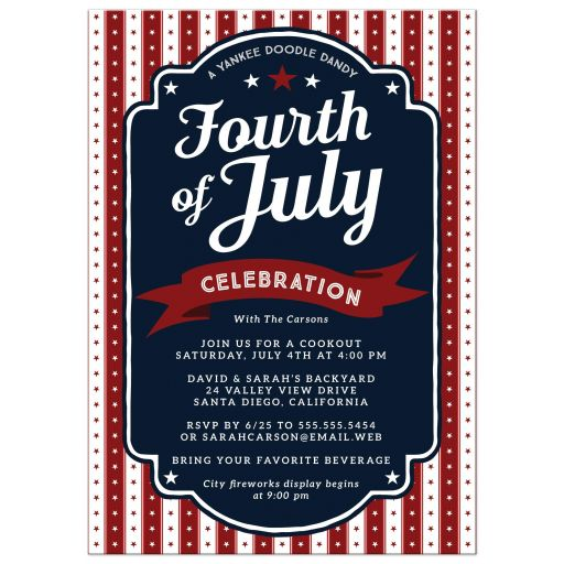 Stars & Stripes 4th of July Party Invitation front