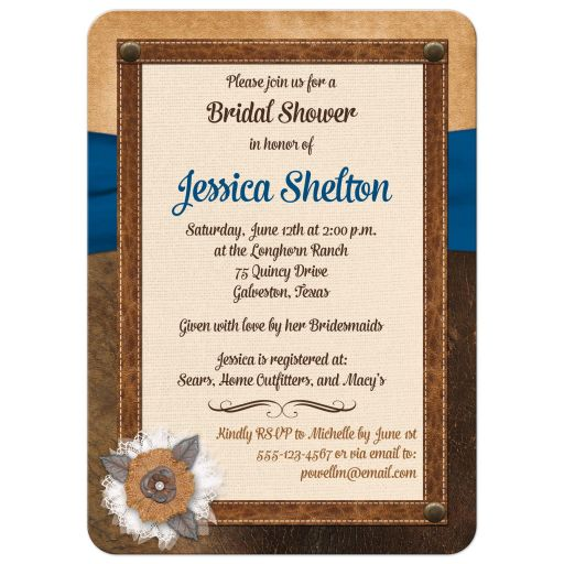 Best bridal shower invite with brown leather, ivory linen, blue ribbon, burlap and metal flowers, and pearl jewels.
