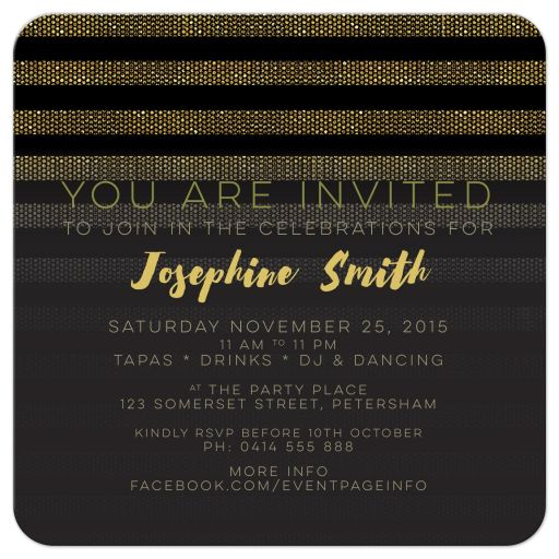 Stylish Glam Gold & Black Stripes Birthday Party Invites