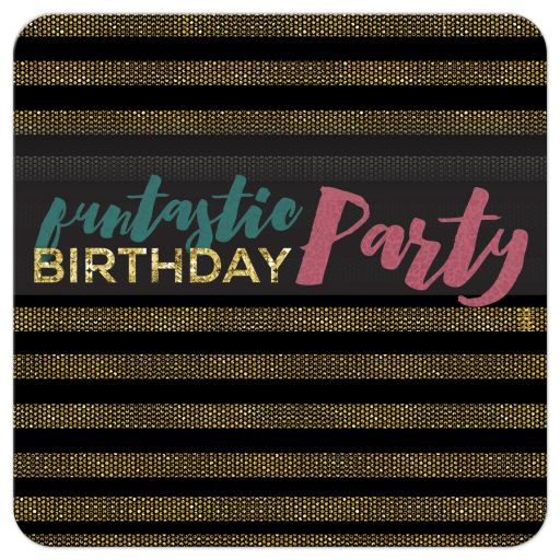 Glam Xtra Black Gold Stripes Birthday Party Invitation