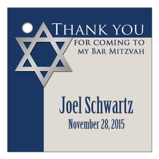 Affordable royal blue and tan bar mitzvah thank you favor tag
