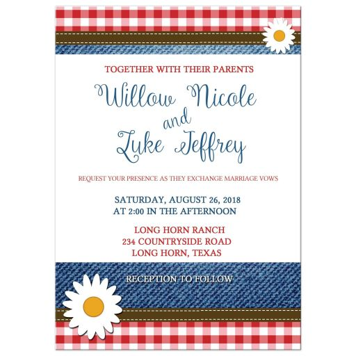 Denim Red White and Blue Daisy Plaid Wedding Invitation