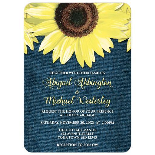 Wedding Invitations - Rustic Sunflower and Denim