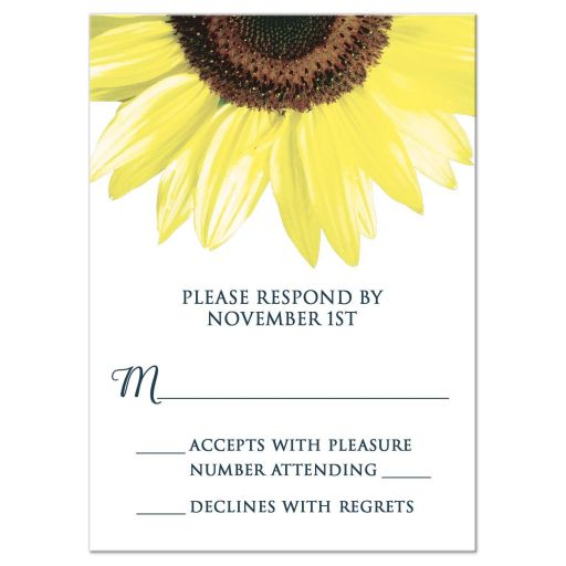 RSVP Reply Cards - Rustic Sunflower and Denim