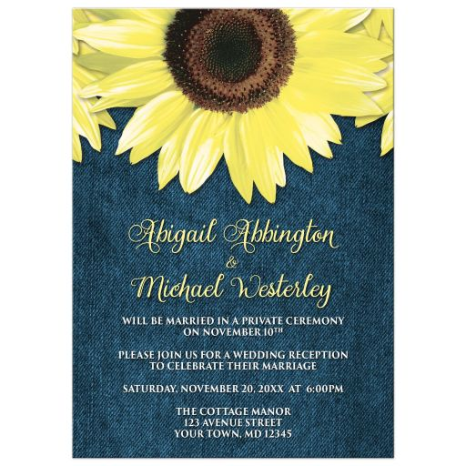 Reception Only Invitations - Rustic Sunflower and Denim