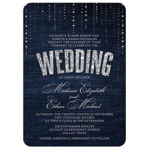 Diamond Wedding Invitation Label: Denim & Diamonds