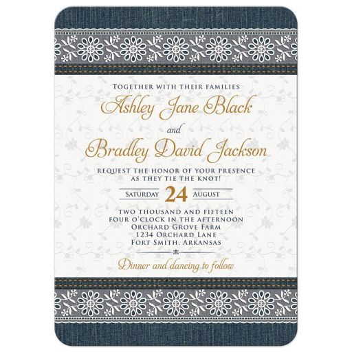 Blue jeans denim and lace wedding invitation front