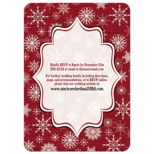 wedding invitation rustic red burlap deer snowflakes With wedding invitations red deer