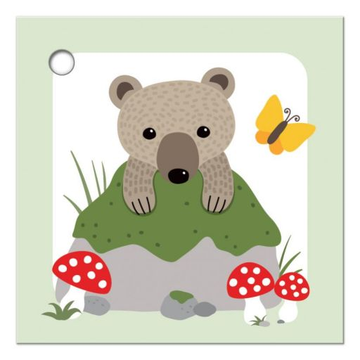 Cute woodland bear with butterfly and forest mushrooms, gift or favor thank you tag.