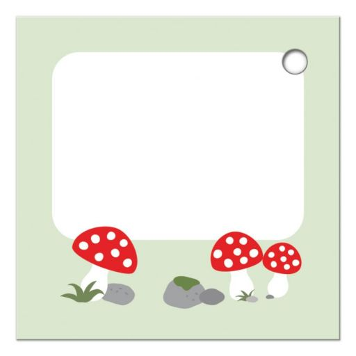 Red and white mushrooms, back of woodland gift/favor tag with cute bear illustration.