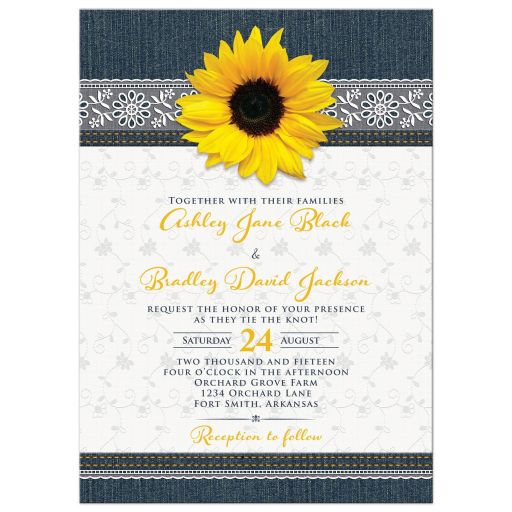 Sunflower, denim, and lace wedding invitation front