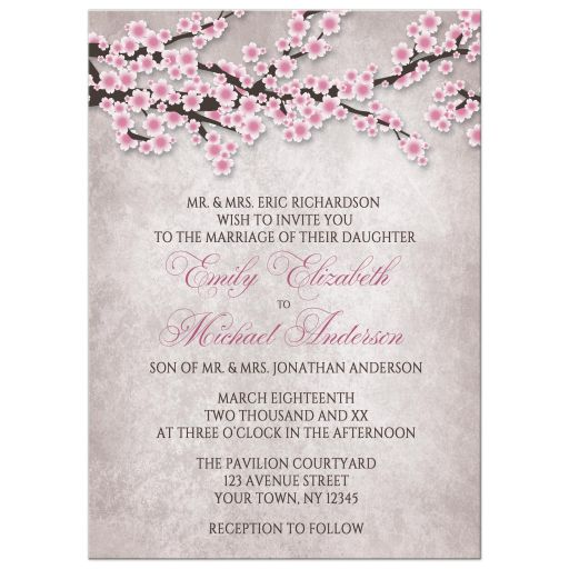 Wedding Invitations - Rustic Pink Cherry Blossom