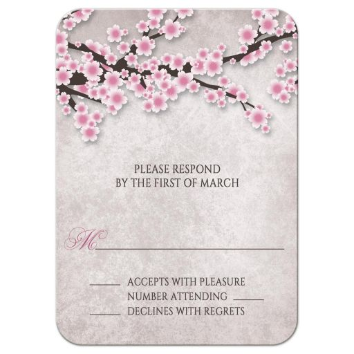 RSVP Reply Cards - Rustic Pink Cherry Blossom