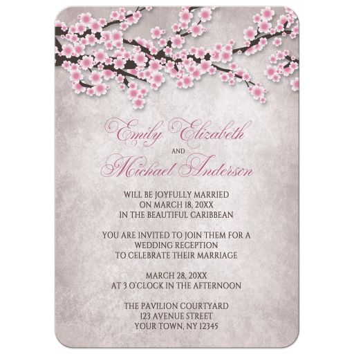 Reception Only Invitations - Rustic Pink Cherry Blossom
