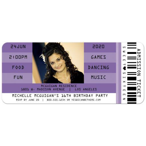 Purple Retro Concert Admission Ticket Photo Sweet 16 Party Invitation