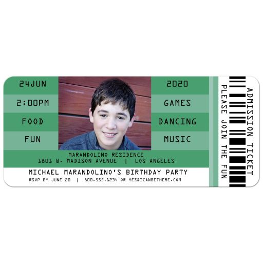 Green Retro Concert Admission Ticket Photo Birthday Party Invitation