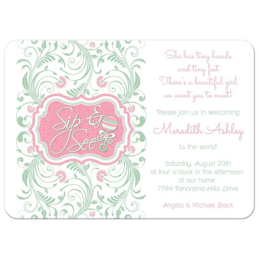Mint green pink floral baby rattle girl sip and see baby shower invitation front