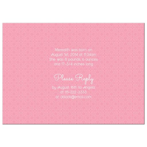 Mint green pink floral baby rattle girl sip and see baby shower invitation back