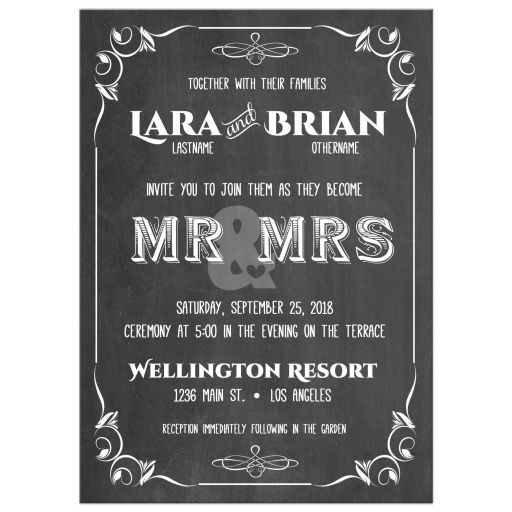 Trendy Scrollwork Chalkboard Typography Wedding Invitation