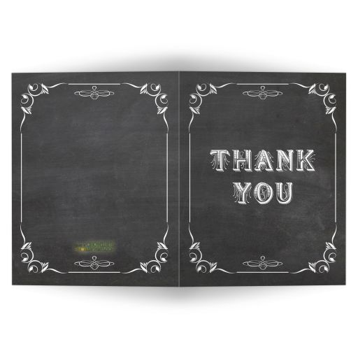 Trendy Scrollwork Chalkboard Typography Blank Thank You Card