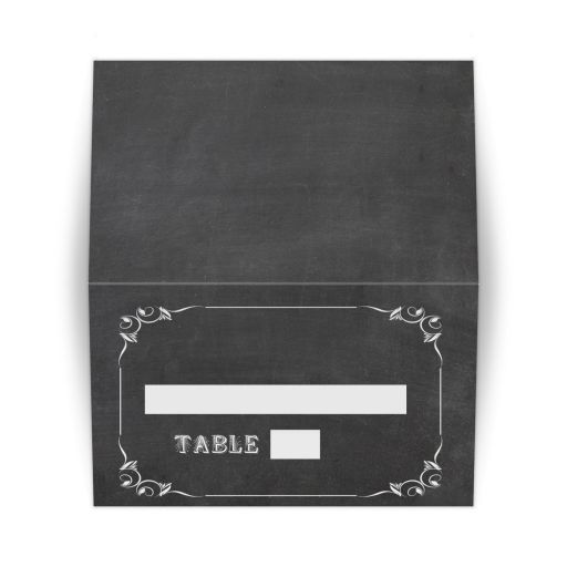 Trendy Scrollwork Chalkboard Typography Tented Place Card