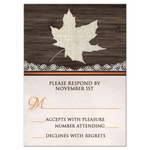 RSVP Reply Cards - Rustic Autumn Wood Leaf Orange