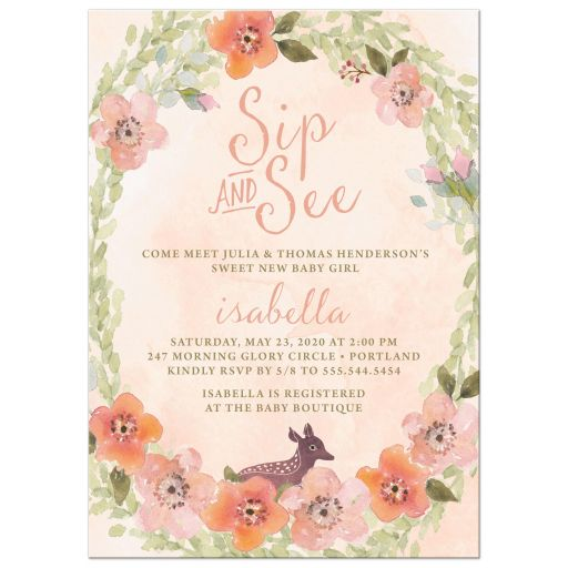 Sip and See Party Invitations Sweet Woodland Florals