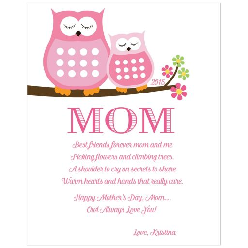 Mother's Day Art Print - Pink Owl, Owl Always Love You