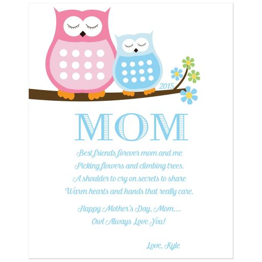 Pink and Blue Owl Mother's Day Art Print Owl always love you