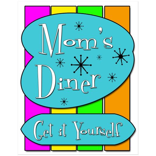 Colorful 11x14 Retro Inspired Mom's Diner Wall Art